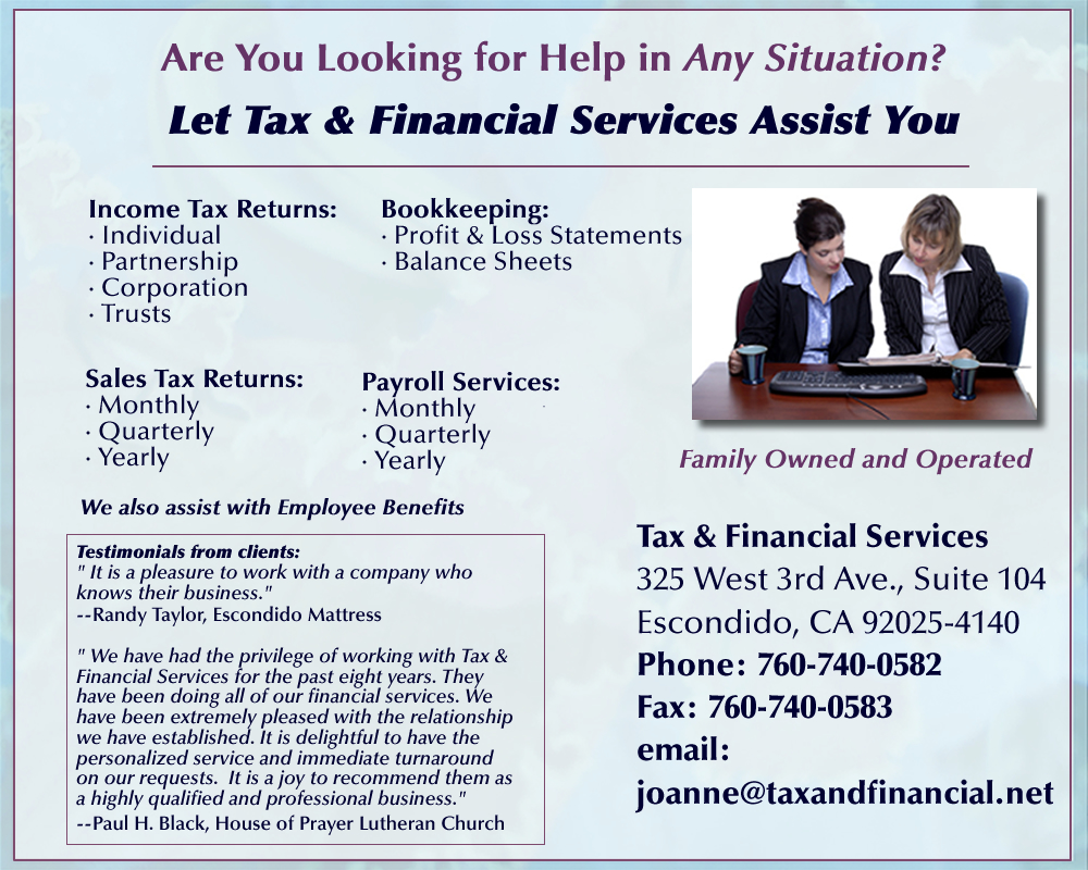 Welcome to Tax and Financial--We can help with any financial situation!